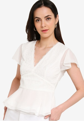 French Connection white Bikita Lace Mix Short Sleeve Top E7605AA15D8405GS_1