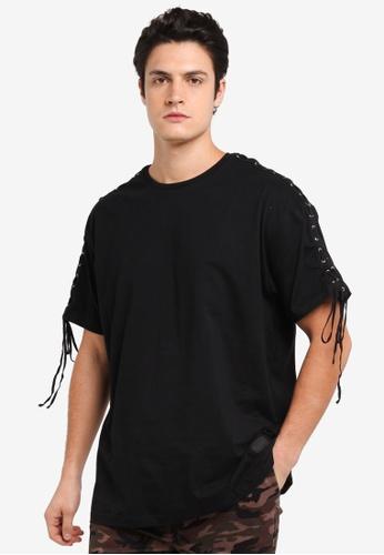 Flesh IMP black Laced Thread Patch Oversized T-Shirt DD2D9AA9EEA04DGS_1