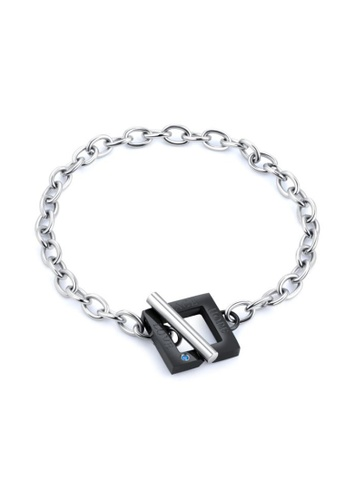 """CELOVIS black and silver CELOVIS - Sweetheart """"Peace Hope Love"""" in Geomatric Square Pendant with Zirconia Toggle Bracelet in Silver 7458DACC22B9F2GS_1"""