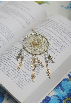 Craftika's Gold Dream Catcher Necklace with Real Pearls