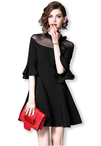 Sunnydaysweety black F/W Black Flare Sleeve And Fishnet Collar One Piece Dress A092730-0 83905AA76D040DGS_1