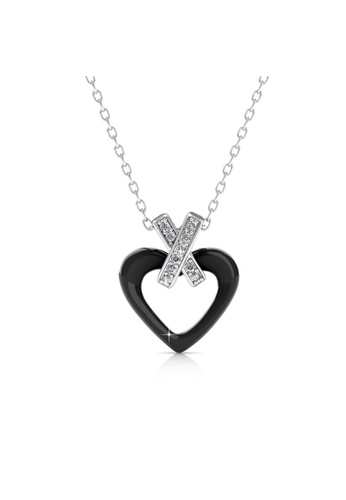 Her Jewellery black Heart Ceramic Pendant (Black) - Licensed Genuine Crystals from Swarovski® HE581AC0RDQ1MY_1