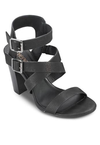 Tiesprit 手錶gris 雙扣環交叉繞踝粗跟鞋, 女鞋, 鞋