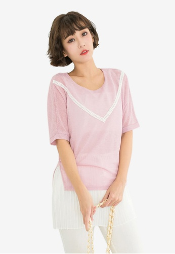 Tokichoi pink Special Top With Pleated Hem 859E4AA52CEA48GS_1