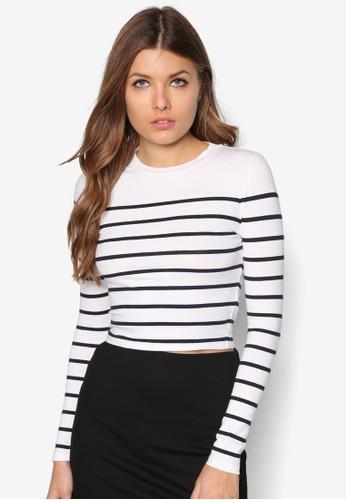 條紋圓領長袖衫,topshop代購 服飾, T恤