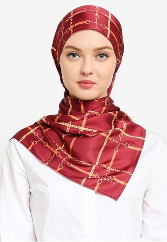 Hijabii red Lisa Stripe Shawl in Dark Red ED0A9AC850A3E0GS_1