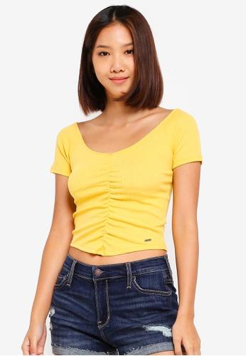 Hollister 黃色 刺繡T恤 C85A6AA9412A56GS_1