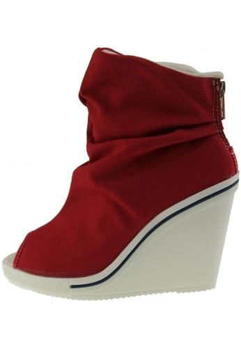 Maxstar Maxstar Women's 777 Open Toe High Wedge Heel Canvas Ankle Sneakers US Women Size MA168SH38ZYZHK_1