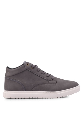 Burton Menswear London grey Grey Leather Look Sports Boots ABDD5SH5B5F12FGS_1