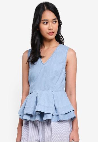ONLY blue Marisa Belt Denim Top B76F4AA39D521EGS_1