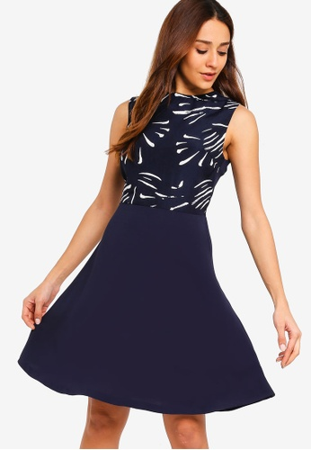 ZALORA multi and navy Contrast Fit And Flare Dress 8CC51AA5A9E12AGS_1