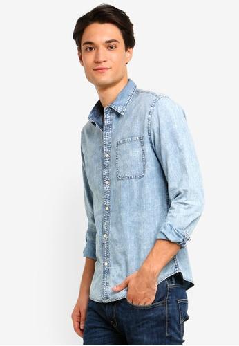 ESPRIT 藍色 Woven Long Sleeve Shirt 97ED0AA00B61BAGS_1