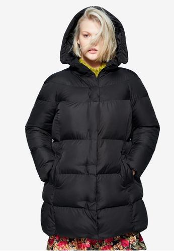 Violeta by MANGO black Plus Size Hood Quilted Coat B57EEAA1829E41GS_1