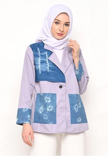 My Daily Hijab blue and multi Laura Blazer Shibori 87127AA60EE4F2GS_1