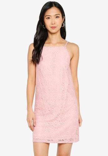 ZALORA BASICS pink Straight Neck Lace Shift Dress 5DCDFAA5BDC278GS_1