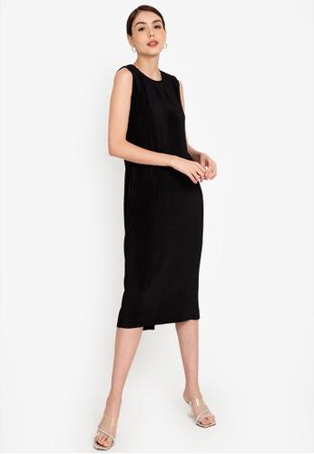 ZALORA WORK 黑色 Pleated Midi Dress D8B65AA53DCC68GS_1