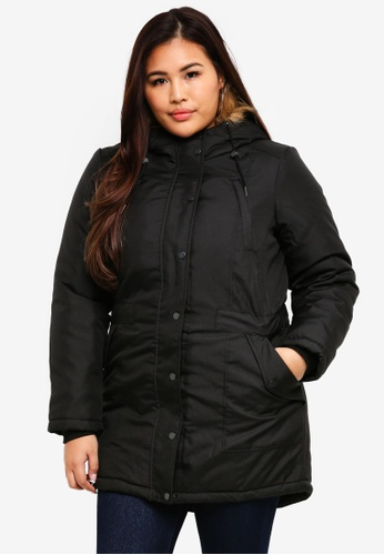 Junarose black Plus Size Parka Jacket C5B14AA2398958GS_1