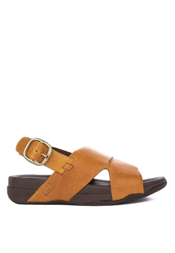 FitFlop brown BANDO SANDAL IN LIZARD PRINTED LEATHER 37063SH58413E6GS_1