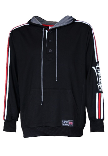 Challenger black Challenger Men Big Size Half Button Hoodies With Stripe 0XL-6XL Plus Size CH7015 1FAC0AABD2B5BDGS_1