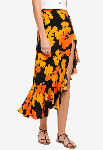 TOPSHOP black and orange Linear Floral Midi Skirt CD0A5AAC83F9F3GS_1