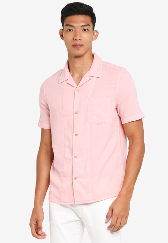 French Connection pink Overdyed Textured Dobby Shirt 87976AA10BFEFEGS_1