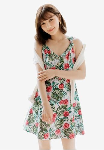 Tokichoi white and multi Tropical Floral Tie Strap Dress A2583AA9249DA7GS_1