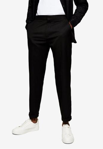 Topman black Black Relaxed Twill Trousers 07AAAAA7428A2DGS_1
