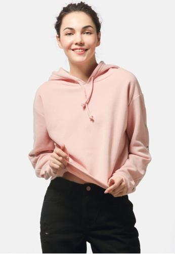 London Rag pink Snap Button Sleeve Hoodie 58754AA3465EEDGS_1