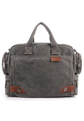A FRENZ grey Stylish Executive Document Canvas Bag Grey 1479FAC3709FD8GS_1