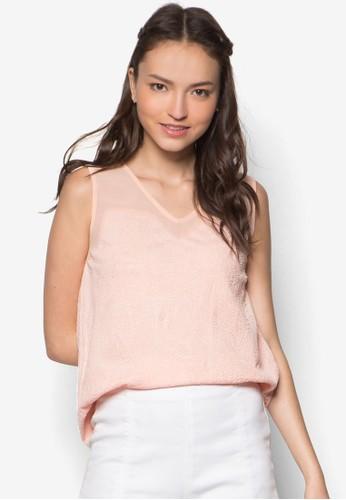 暗zalora時尚購物網評價紋素色無袖上衣, 服飾, 上衣