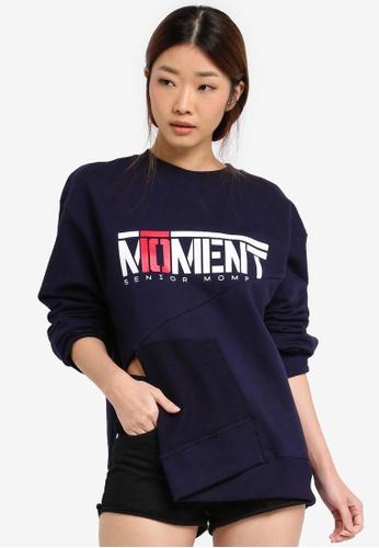 Stylenanda navy Moment Text Sweatshirt ST343AA0SXJJMY_1