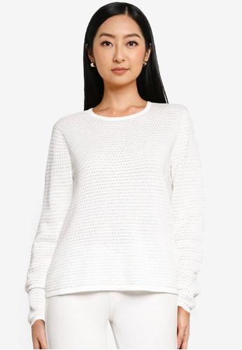 JACQUELINE DE YONG white Barbarini Life Long Sleeves Knit Sweater 67051AAF6B3CEEGS_1