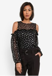 Dorothy Perkins black Black Foil Spot Cold Shoulder Top DO816AA0S79VMY_1
