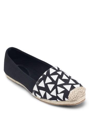 印花拼接麻編鞋, 女鞋, zalora鞋鞋