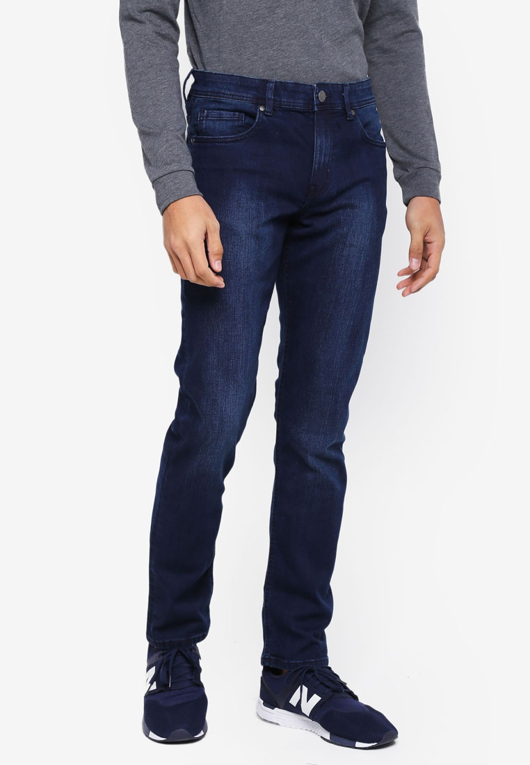 Fit Cotton Washed Jeans On Black Slim Blue dpHWqP1wa