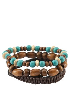 3 Pcs Bracelet Pack With Leather Woven& Beads