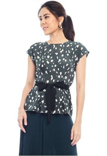 Nichii green Spot Print Front Tie Blouse C2523AAA7F25E5GS_1