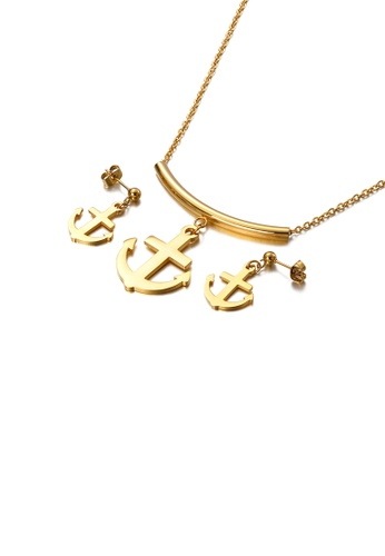 Glamorousky silver Fashion Simple Plated Gold Anchor 316L Stainless Steel Necklace and Earring Set 0D5EBACD0A8281GS_1