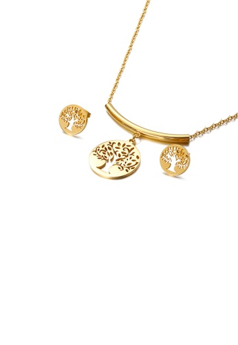 Glamorousky silver Fashion Simple Plated Gold Hollow Tree Geometric Round 316L Stainless Steel Necklace and Stud Earring Set 5A400ACEDC39B5GS_1