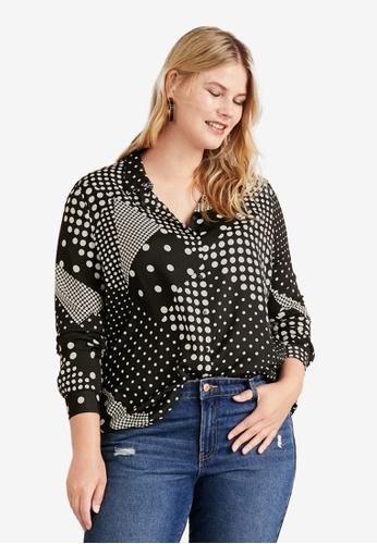 7daeb1de581fb Violeta by MANGO black Plus Size Geometric Print Shirt 5F09AAA61CDAEDGS 1
