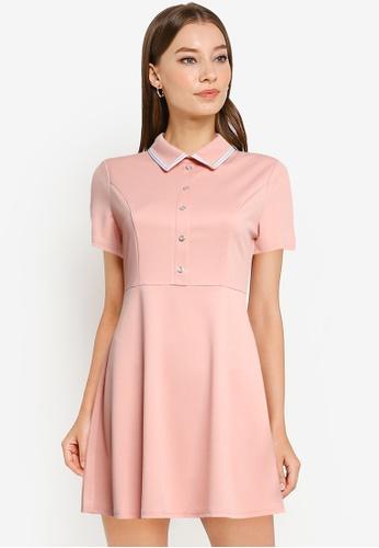 ZALORA WORK pink Contrast Trim Mini Dress 79FB8AAA09E7BFGS_1