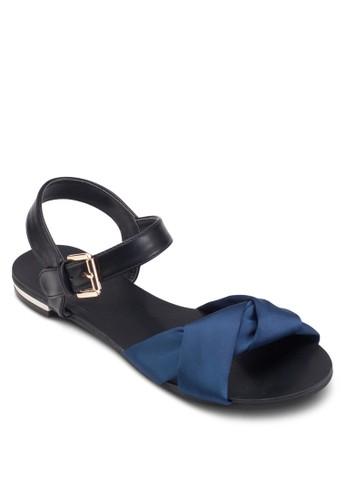 褶飾撞色交esprit outlet 台灣叉帶涼鞋, 女鞋, 涼鞋