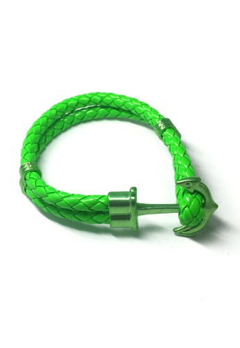 Splice Cufflinks green Grapple Series Bright Green PU Leather Green Anchor Bracelet SP744AC43XFWSG_1