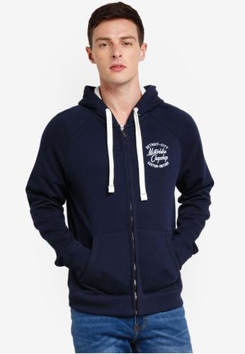 Burton Menswear London 海軍藍色 刺繡連帽外套 93D1AAADF021E9GS_1