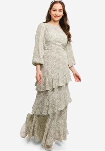 Lubna green Ruffles Dress 1D9CFAAA496362GS_1