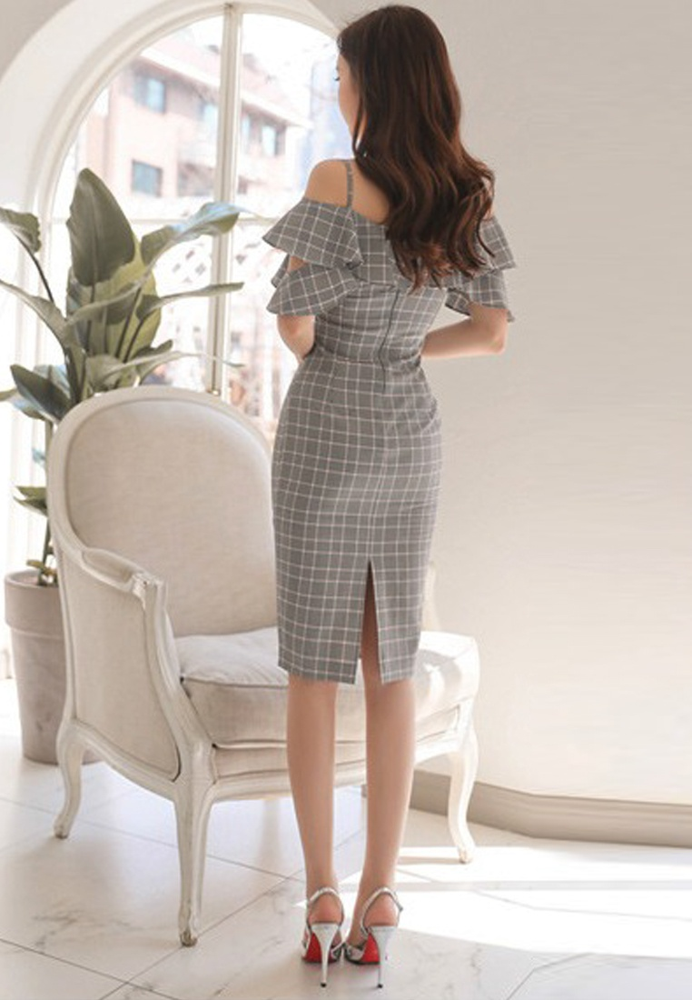 Spaghetti A051631 Sunnydaysweety Pattern Dress 2018 strap grey Piece Grey Check New One q7wgZgIzBx