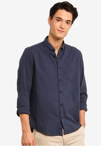 ESPRIT navy Woven Long Sleeve Shirt 54C53AA65C3E4CGS_1