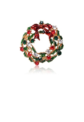 Glamorousky silver Fashion Creative Plated Gold Christmas Ribbon Wreath Brooch with Cubic Zirconia E2C7AAC8AF775CGS_1