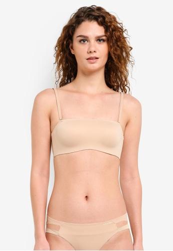 Calvin Klein beige Perfectly Fit Mem Touch Bandeau Bra - Calvin Klein Underwear CA221US0RP9NMY_1