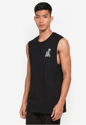 Cotton On black and multi TBar Muscle Tee 81CF4AA149B858GS_1
